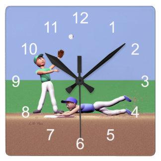 Kids Baseball Players Square Wall Clock
