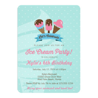 "Kids Birthday Party Invitation, Ice Cream Party 5"" X 7"" Invitation Card"