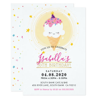 KIDS BIRTHDAY PARTY INVITE  kawaii icecream cone