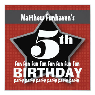 Kids Birthday Party Red Black Silver STAR W204 13 Cm X 13 Cm Square Invitation Card
