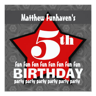 Kids Birthday Party Silver and Red STAR W202 13 Cm X 13 Cm Square Invitation Card