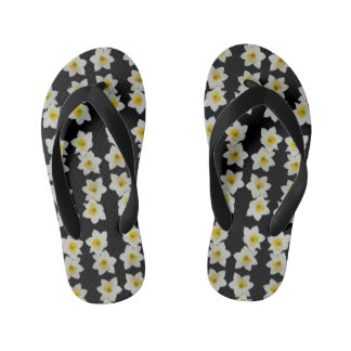 kids black and white floral flipflops thongs