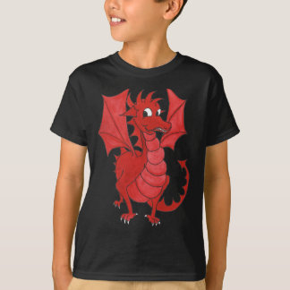 Kids Black Cotton T-shirt: Cute Red Dragon T-Shirt