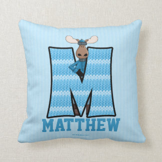 "Kid's Blue Knit Print Moose Monogram ""M"" Pillow"