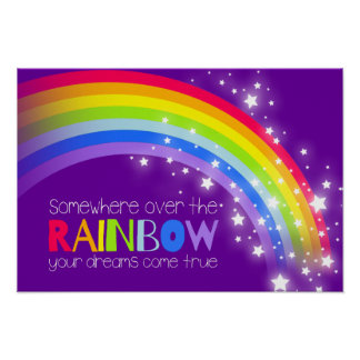 Kids bright rainbow dreams purple sky poster posters