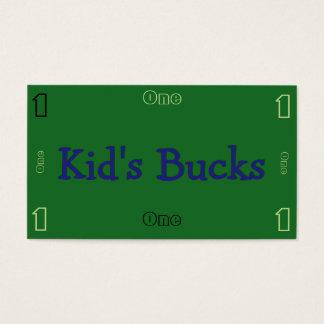 Kid's bucks business card