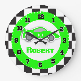 Kids car green chequered flag name wall clock