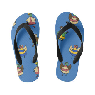 Kids Cartoon Fun Family Boy on any Color Kid's Jandals