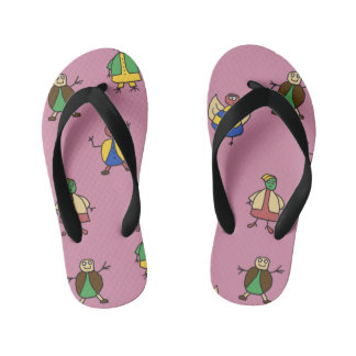 Kids Cartoon Fun Family Girl on any Color Thongs