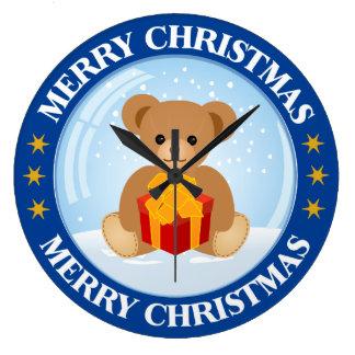 Kids Christmas Cute Teddy Bear inside Snowball Wallclock