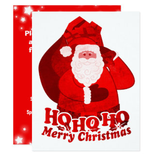 Kids Christmas party invitation Santa red