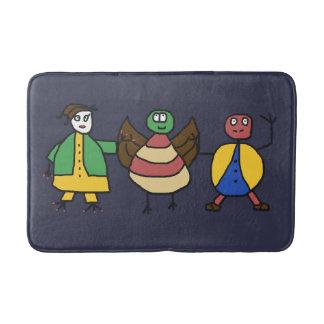 Kids Colorful Fun Family Cartoon Characters Bath Mat