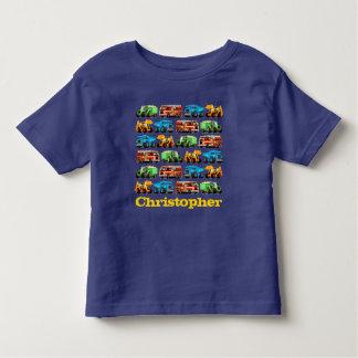 Kids Custom Name Construction Truck Pattern Toddler T-Shirt