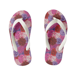 Kids Flip Flops with a floral pattern Thongs