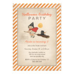 Kids Halloween Birthday Party Cute Witch Broom Cat Invite