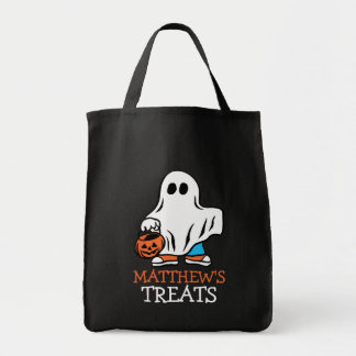 Kids Halloween Ghost Trick or Treat Personalized Grocery Tote Bag