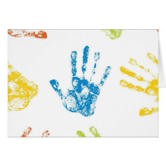 Kids Handprints in Paint Card
