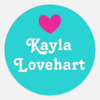 Kids id named heart pink aqua white girls sticker