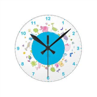 kids illustrated wall clock