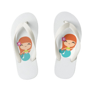 Kids Mermaids Flip Flops Thongs