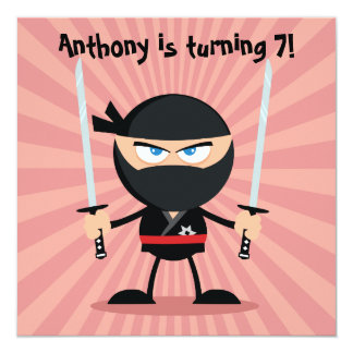 "Kids Ninja Theme Party Invite 5.25"" Square Invitation Card"