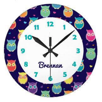 Kids Personalized Cute Owl Pattern Blue Animal Large Clock