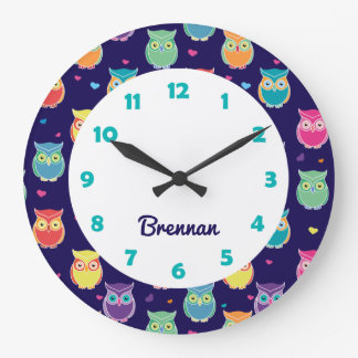 Kids Personalized Cute Owl Pattern Blue Animal Wallclocks