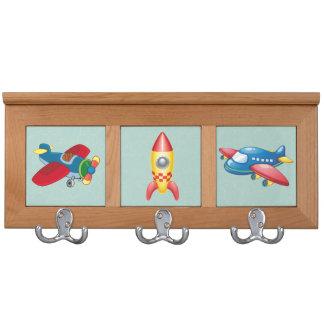 Kids Planes and Rocket Ships Coat Rack