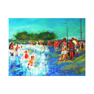 KIDS PLAYING-DETROIT RIVER FRONT CANVAS PRINT
