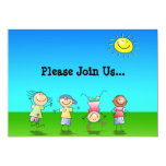 Kids Playing Outdoors on a Sunny Day 13 Cm X 18 Cm Invitation Card