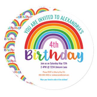 Kids Rainbow Birthday Party Colorful Pretty Girls 13 Cm X 13 Cm Square Invitation Card