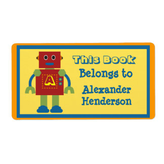 Kids Robot Monogram Book Sticker