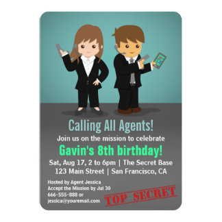 Kids Secret Agent Birthday Party 5x7 Paper Invitation Card