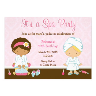 Kids Spa Party Personalized Announcements