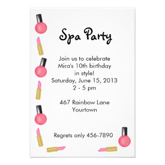 Kids Spa Party Invitation with Cosmetics