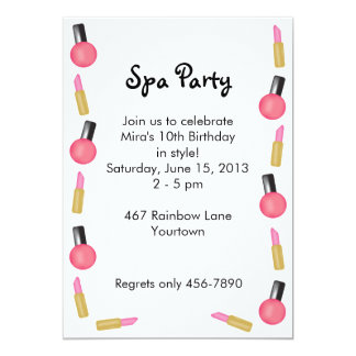 Kids Spa Party Invitations with Cosmetics