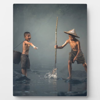 Kids Spear Fishng Photo Plaque