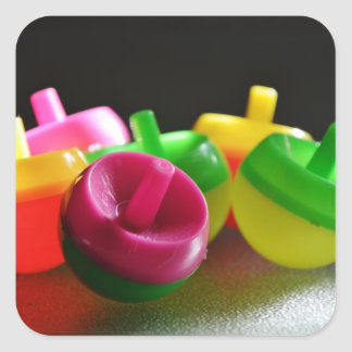 Kid's Toy Tops Spin Candy Colored Square Sticker
