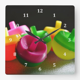 Kid's Toy Tops Spin Candy Colored Square Wall Clock