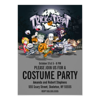 Kids Trick or Treat Halloween Costume Party 13 Cm X 18 Cm Invitation Card