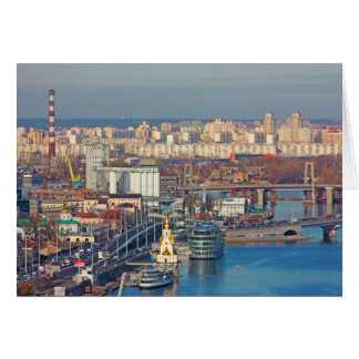 Kiev bussines and industry city landscape on river card