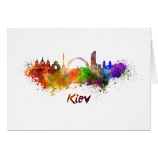 Kiev skyline in watercolor card