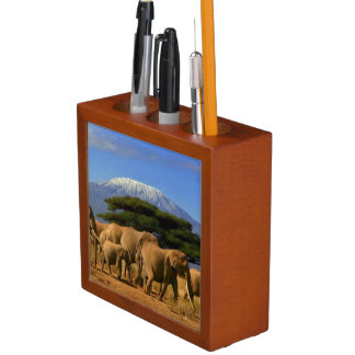 Kilimanjaro And Elephants Desk Organiser
