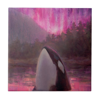 Killer Whale Orca and Pink/Magenta Northern Lights Small Square Tile