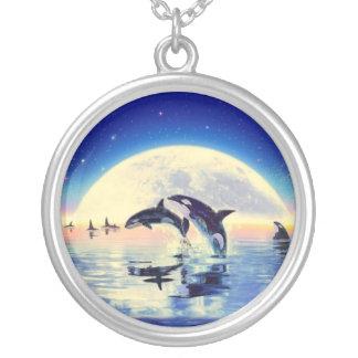 Killer Whale Orca Round Pendant Necklace
