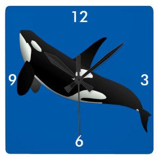 Killer Whale, Orcinus Orca Square Wallclock