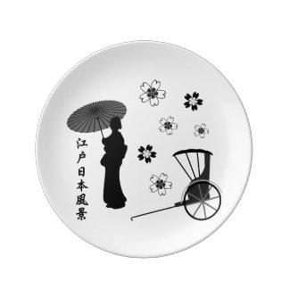 Kimono, Sakura, Rickshaw, Edo and Japan Plate