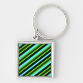 Kind Deco Retro touched in green blue black Silver-Colored Square Key Ring