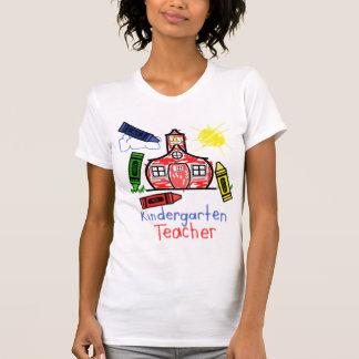 Kindergarten Teacher T Shirt- Schoolhouse & Crayon