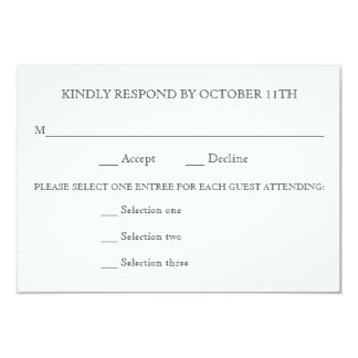 KINDLY RESPOND WEDDING RSVP 3 MENU CHOICES REPLY CARD